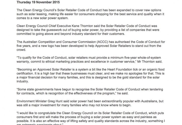 The Clean Energy Council expands their Solar Retailer Code of Conduct for 2016