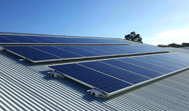 Basking in the sunlight: the library-mounted portion of Thornlie Christian College's new PV system